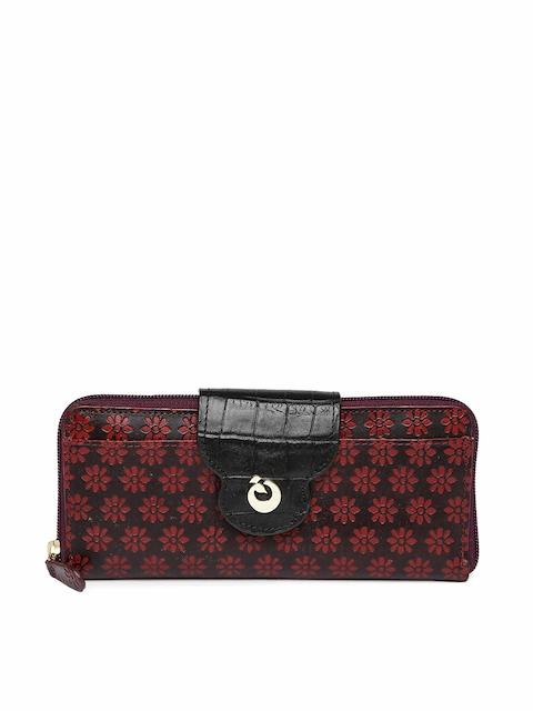 Holii Women Maroon Textured Zip Around Wallet