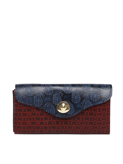 Holii Women Navy & Maroon Textured Two Fold Wallet
