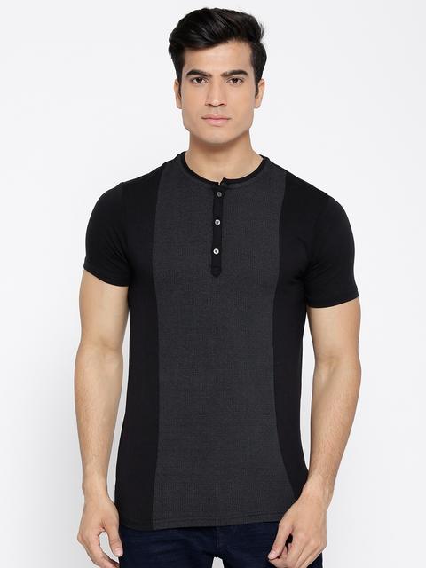 Blackberrys Men Black & Grey Self-Checked Henley Neck T-shirt