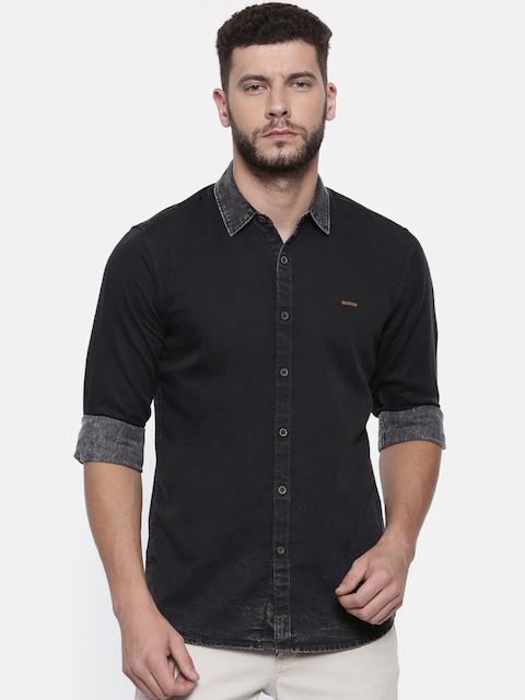 Wrangler Men Black Regular Fit Faded Casual Shirt