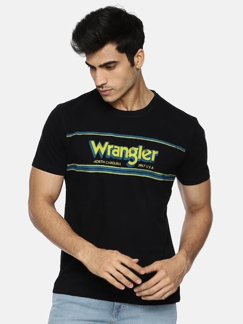 Wrangler Men Black Printed Round Neck T-shirt
