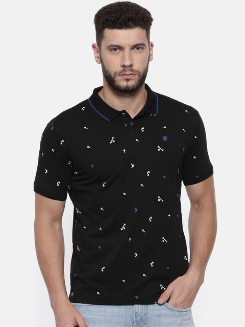 Wrangler Men Black Printed Polo T-shirt