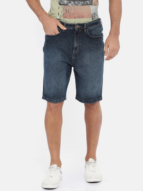 Wrangler Men Blue Washed Slim Fit Denim Shorts