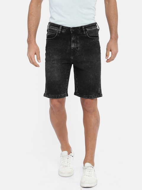 Wrangler Men Black Washed Slim Fit Denim Shorts