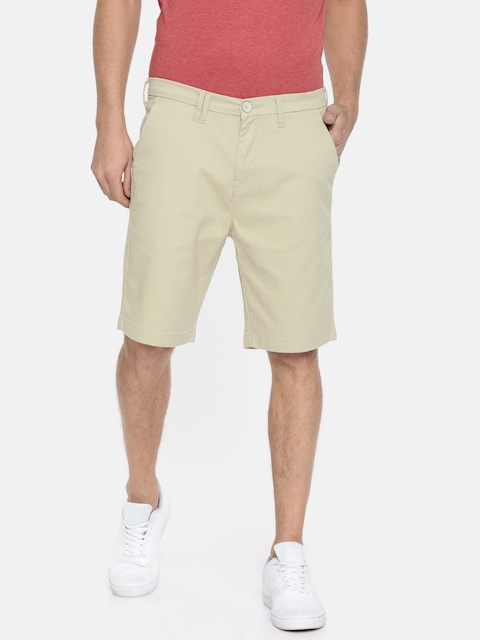 Wrangler Men Beige Solid Slim Fit Chino Shorts