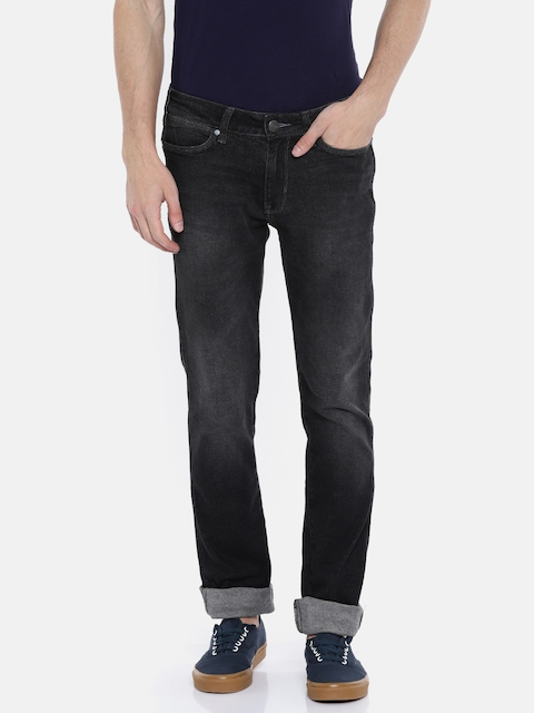 Wrangler Men Black Slim Fit Low-Rise Clean Look Stretchable Jeans