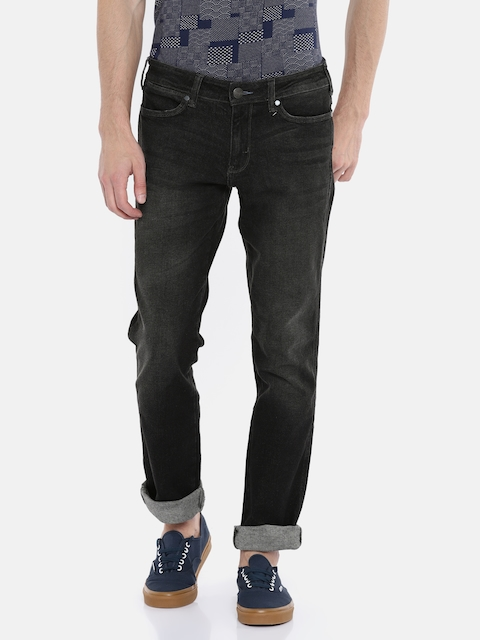 Wrangler Men Black Rockville Tapered Fit Low-Rise Clean Look Stretchable Jeans