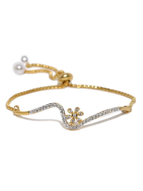 Amavi Gold-Plated & White CZ Stone-Studded Contemporary Bracelet