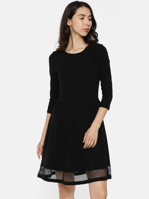 ONLY Women Black Solid A-Line Dress