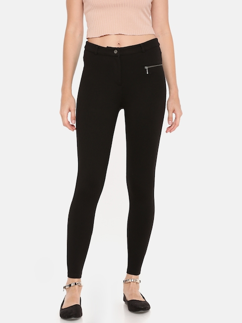 ONLY Women Black Regular Fit Solid Cigarette Trousers