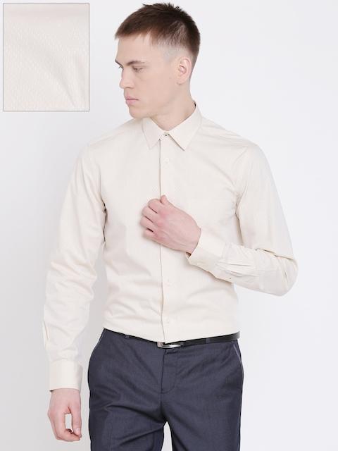 Blackberrys Men Light Beige Slim Fit Printed Formal Shirt