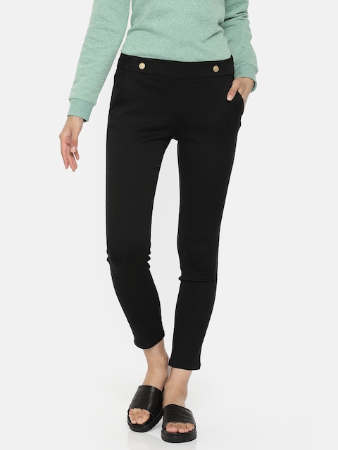 ONLY Women Black Slim Fit Solid Cigarette Trousers
