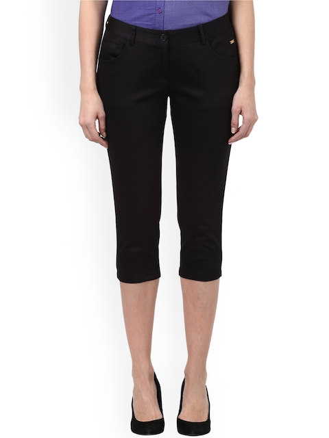 Park Avenue Woman Black Tapered Fit Solid Regular Trousers