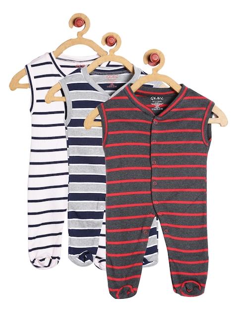 GKIDZ Unisex Pack of 3 Sleepsuits INF-3PCK-SLVLS-YD-SLSPT-CMB-11