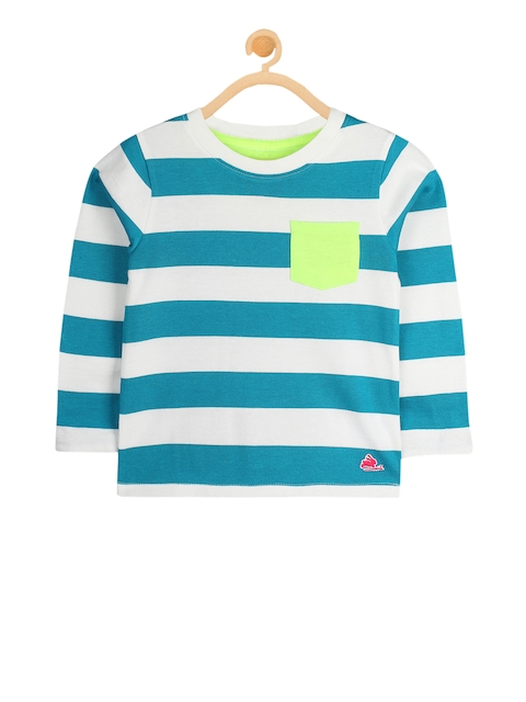 Cherry Crumble Unisex White & Blue Striped Sweatshirt