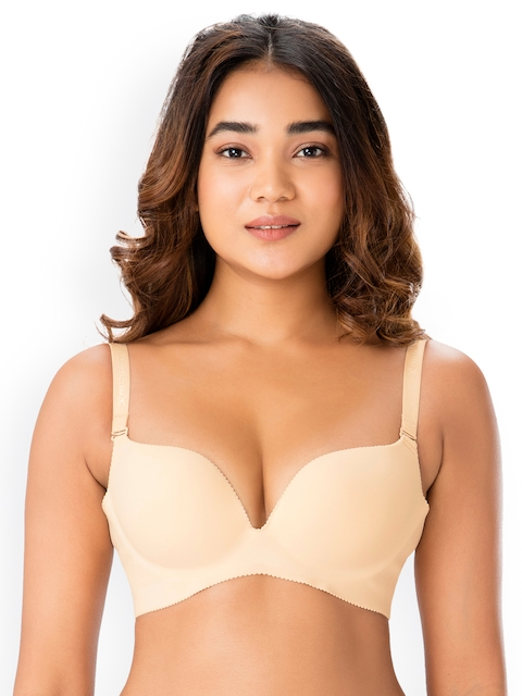 PrettySecrets Nude-Coloured Solid Non-Wired Lightly Padded Plunge Bra