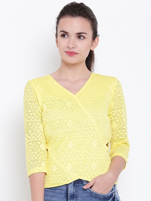 Madame Women Yellow Self-Design Panelled Top
