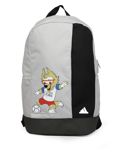 Adidas Unisex Grey & Black Mascot Print Backpack