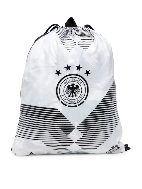 Adidas Unisex White & Black Printed Backpack