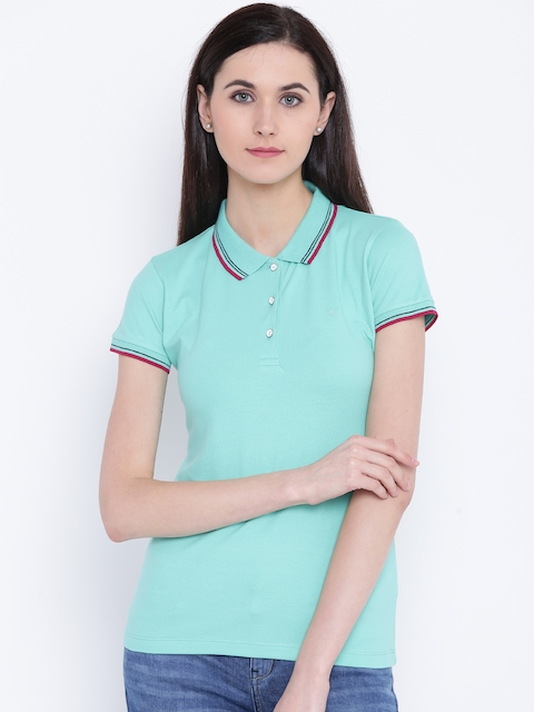 Monte Carlo Women Sea Green Solid Polo Collar T-shirt