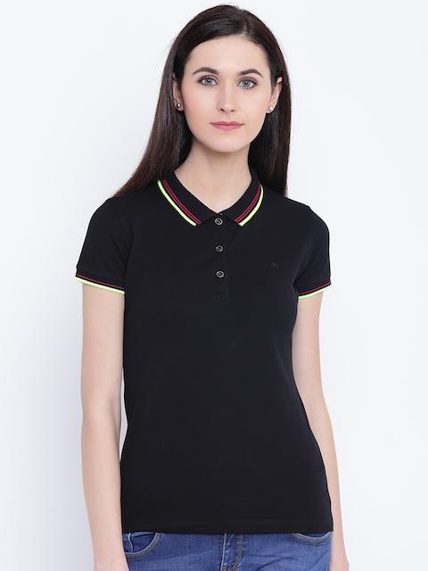 Monte Carlo Women Black Solid Polo Collar T-shirt