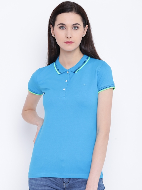 Monte Carlo Women Turquoise Blue Solid Polo Collar T-shirt