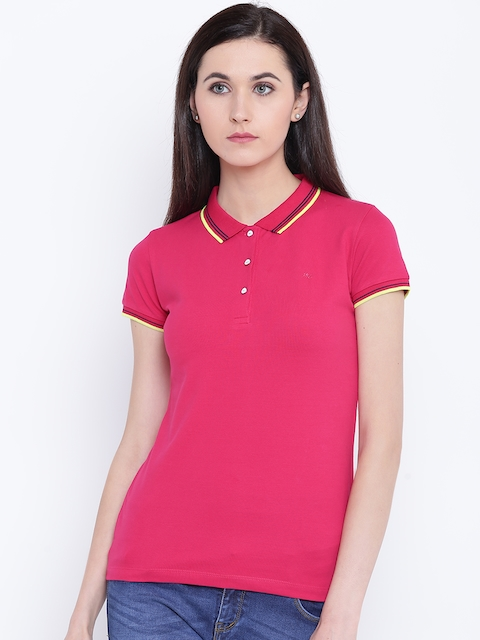 Monte Carlo Women Pink Solid Polo Collar T-shirt