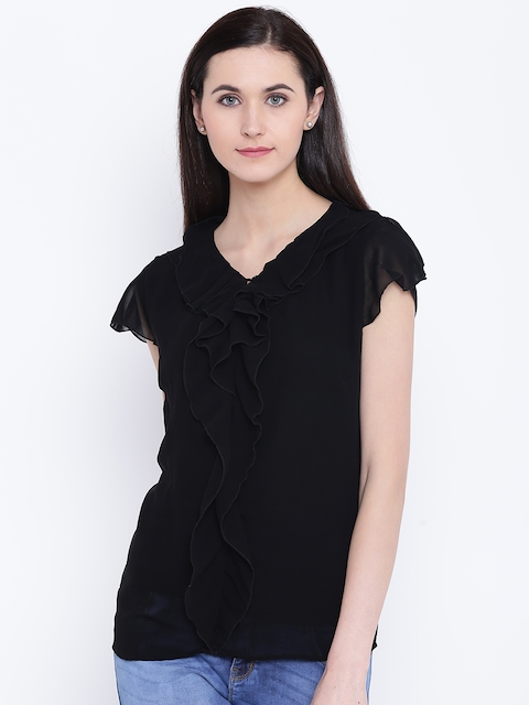 Monte Carlo Women Black Solid Ruffled Top