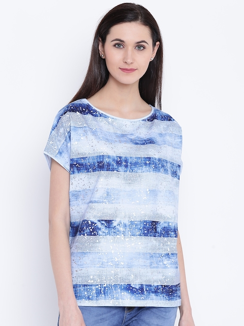 Monte Carlo Women Blue Striped Top