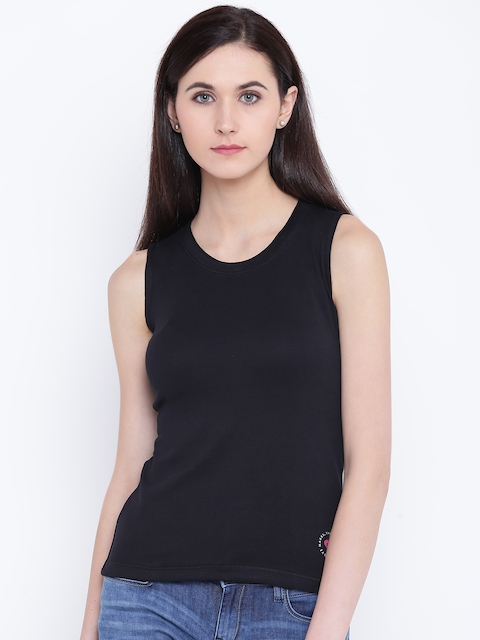 Monte Carlo Women Black Solid Fitted Top
