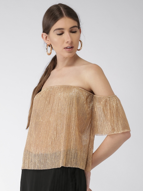 FOREVER 21 Women Gold-Toned Self-Striped Bardot Top
