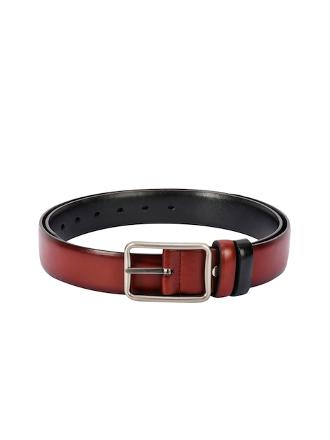 BuckleUp Men Maroon & Black Solid Belt