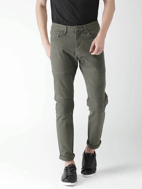 FOREVER 21 Men Olive Green Flared Mid-Rise Clean Look Stretchable Jeans
