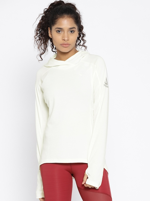 Reebok Women Off-White Combat Lightweight Hooded Sweatshirt