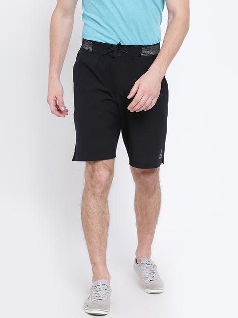 Reebok Men Black Epic Knit Waistband Self-Checked Training Shorts
