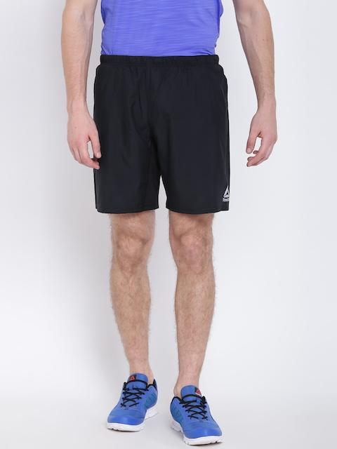 Reebok Men Black RE 8 Inch Solid Running Shorts