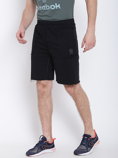 Reebok Classic Men Black Graphic Pack Q2 Solid Sports Shorts