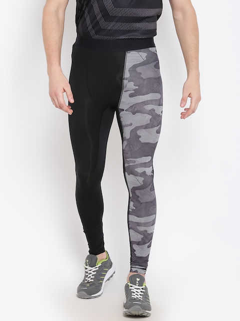 Reebok Men Black Compression-AOP Printed Tights