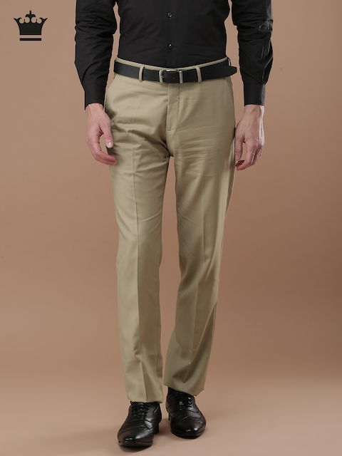 Louis Philippe Men Beige Ultra Slim Fit Solid Formal Trousers