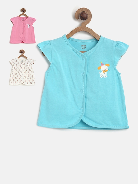 MINI KLUB Girls Pack of 3 Printed Round Neck Open Vest T-shirt