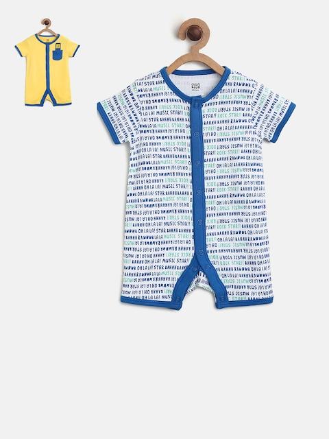 MINI KLUB Boys Pack of 2 Printed Knitted Rompers