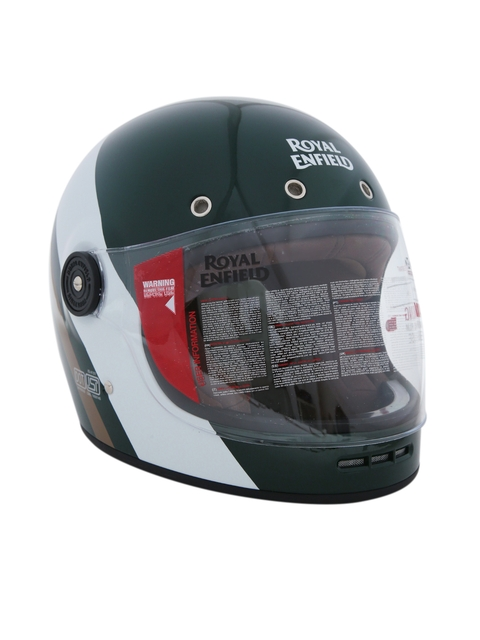 4f8836fd9 Royal Enfield Unisex Green & White Classic Striped Full Face Helmet  RRGHEH000077
