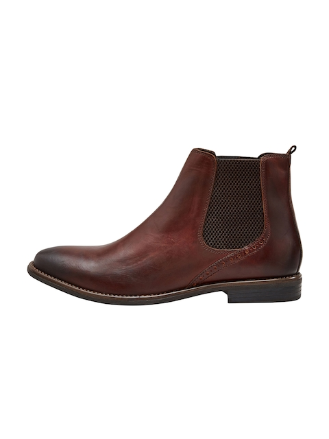next Men Brown Solid Leather Mid-Top Flat Boots