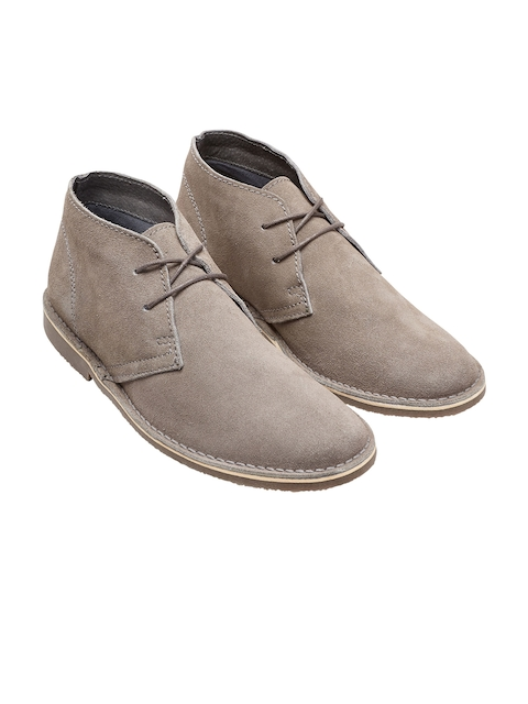 next Men Grey Suede Leather Flat Boots