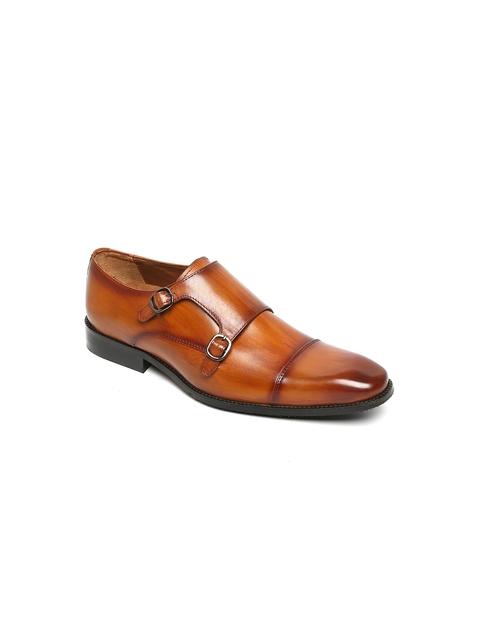 BRUNE Men Tan Streaked Leather Formal Monk Shoes