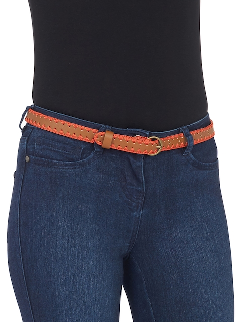 next Women Brown & Orange Textured Belt