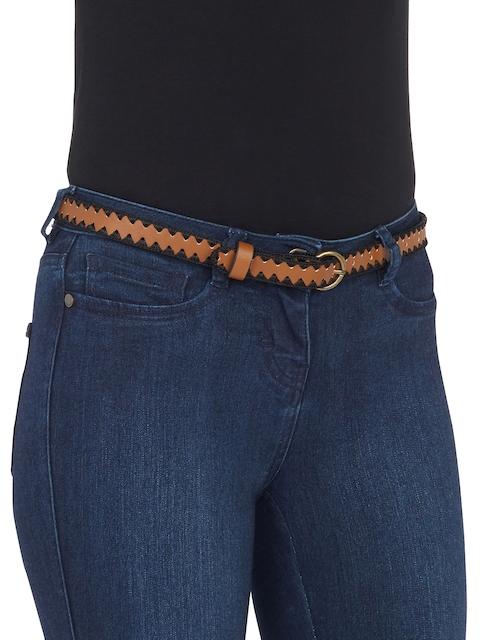 next Women Brown & Black Textured Belt