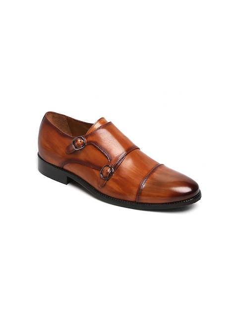 BRUNE Men Tan Burnished Genuine Leather Monk Shoes