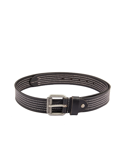 Kara Men Black Striped Leather Belt