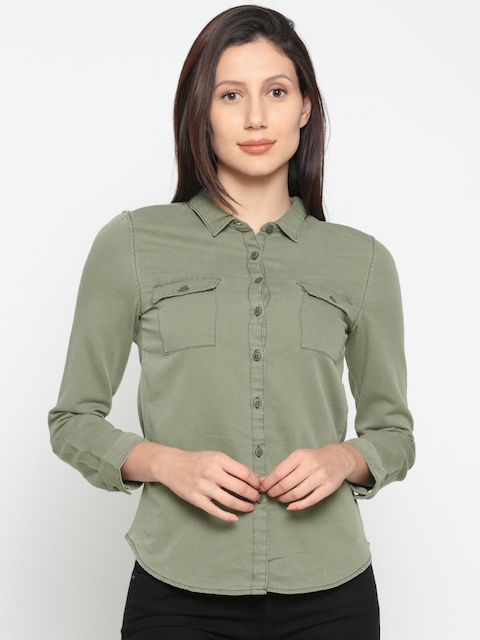 Wrangler Women Olive Green Custom Regular Fit Solid Casual Shirt